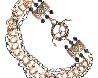 triple chain unisex bracelet copper sterling gunmetal brass