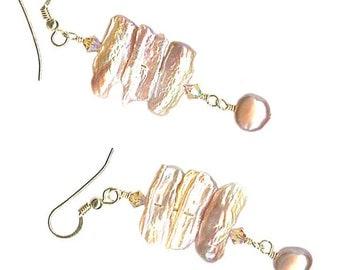 peach-mauve triple flat kishi freshwater pearl rectangle dangle earrings