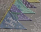 Happy Birthday Banner Bunting Mint Green, Lemon, Lilac and Blue Birthday Party Celebration or Photo prop Custom Made to order