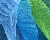 Hand Dyed Lightweight Open Weave Cotton Gauze/Scrim/Muslin Bundles Blue Green