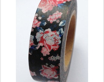 Cute Flowers / Floral / Roses Black Washi Paper Deco Tape