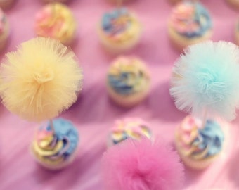 Party Pom Picks - small tulle pom pom decorations, cake toppers, wedding favors - 34 color choices