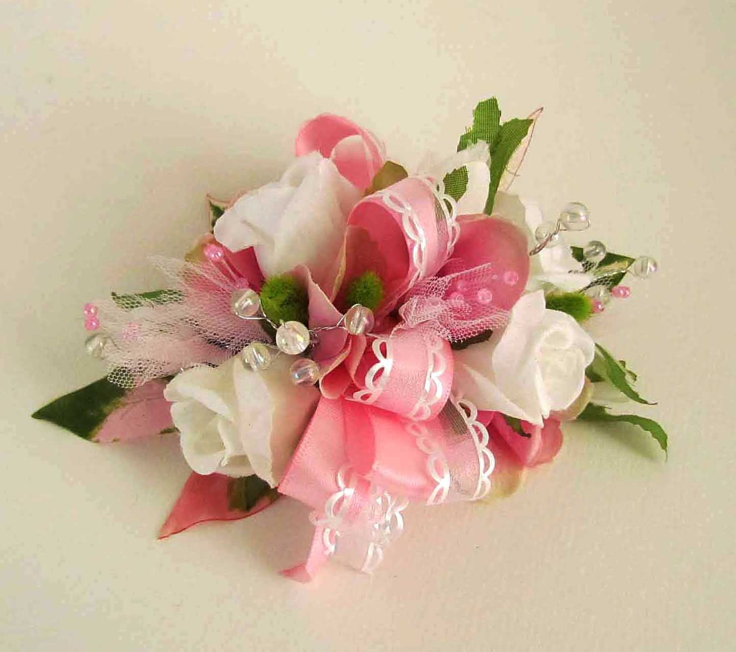 Sale Priced Pink Amp White Prom Corsage With Sweetheart Roses