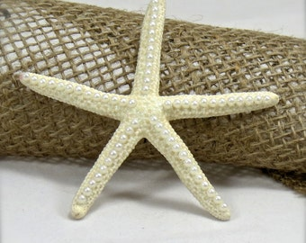 White Starfish with Pearl Accents- Beach Wedding Decor-Bridal Bouquet - christmas tree ornament