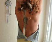 Bohemian Yellow Gray Patchwork Upcycled Tshirt Cowl Neck Backless Halter Tank Top with Floral Trim Back Strap Size M/L - MountainGirlClothing
