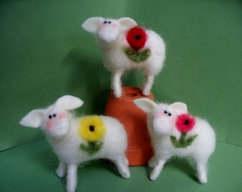 "Bloomin Lambs 2"" Felted Wool Lambs -Set of 3 - NEW for 2013"