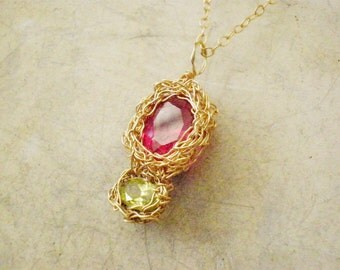 Crochet pendant necklace, Peridot and Ruby Cubic Zirconia crochet pendant necklace, 14k gold filled