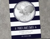 Modern Nautical - Custom Photo Birth Announcement