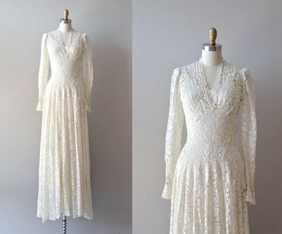 1930s Wedding Gowns: R E S E R V E D...1930s Dress / Lace 30s Dress / Wedding