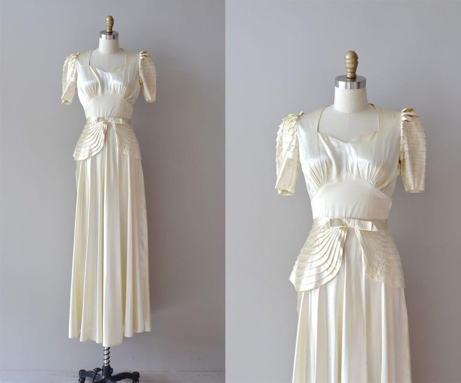 1930s Wedding Dress Silk 30s Wedding Dress Vivaudou Gown
