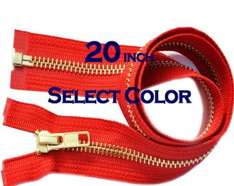 Wholesale Jacket Zippers- 20 inches YKK Brass Metal Teeth Zipper Number 5 Separating Genuine YKK Jackets Zipper (Select Color)