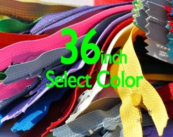 WHOLESALE LONG Zippers- Ykk-Made in Usa- 36 inches YKK Zippers Nylon Coil Closed Bottom By each - Select Color
