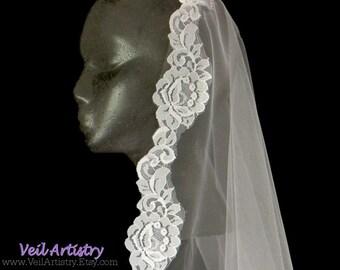 Wedding Veil, Mantilla Bridal Veil, Mantilla, Chapel Veil, Chantilly Lace Veil, Lace Veil, Made-to-Order Veil, Bespoke Veil