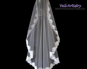 Bridal Veil, Mantilla Wedding Veil, Mantilla Veil, Fingertip Veil, Alencon Lace Edge Veil, Lace Veil, Made-to-Order Veil, Handmade Veil