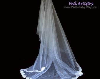 Bridal Veil, Simplicity Veil, Drop Veil, Chapel Length Bridal Veil, Lace Edge Veil, Re-embroidered Lace Veil, Ready to Wear Veil