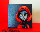 Original illustration Little Red Riding hood on small canvas