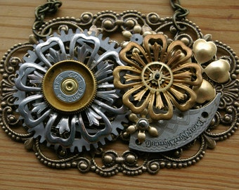 Bullseye Blossom Steampunk Statement Necklace - Brass