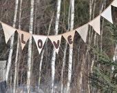 Love Flag Bunting - Garland Pennant Banner in Neutrals Brown Linen - Rustic Modern Wedding Decor - Spring Celebrations - Photo Prop