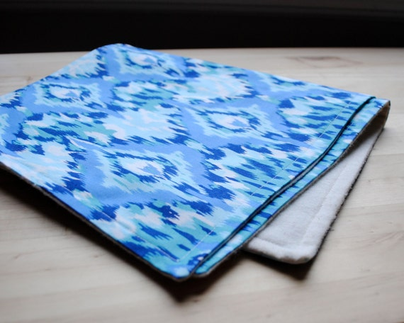 SALE - Blue Ikat Baby Burp Cloths SET of 2 with Organic Flannel - Modern Eco Friendly Kids Gear (Ready to Ship)