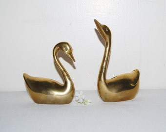 Vintage Hollywood Regency Brass Swan