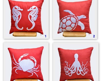 Coral Pillow Covers, Nautical Throw Pillow, Mix and Match Pillow set of 2, Orange Linen Pillow White Nautical Embroidery, CHOOSE THE DESIGN
