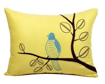 Bird Lumbar Pillow Cover,Yellow Linen Brown Teal Bird Embroidery, Modern Bird Pillow Case, Bird Decoration, Decorative pillow for couch