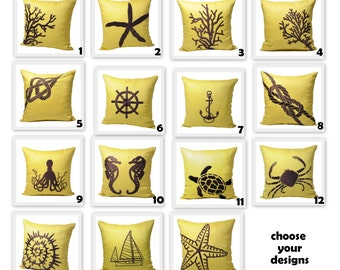 Nautical Pillow Covers,  Pillow Cover Set of 2, Yellow Linen Dark Brown Nautical Embroidery, Coastal Home Decor, Mix match pillow