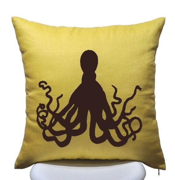 Dark Brown Throw Pillow : DARK BROWN Octopus Pillow Cover Throw Pillow Cover 18 x 18