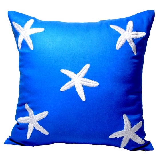 Blue Linen Throw Pillows : Starfish Throw Pillow Cover Decorative Pillow Nautical by KainKain