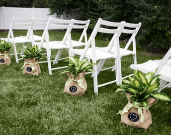 Sets of 4 - 7 Large Burlap Bags with Re-Useable Chalkboard Labels for Modern Outdoor Wedding Decor