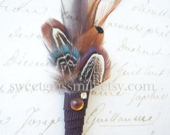 Feather Boutonniere - KNIGHTLEY - Brown Aqua Pheasant Feathers Gems Ribbon