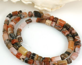 Unusual AGATE faceted barrel tube beads - long 18 inch strand sunset in the desert