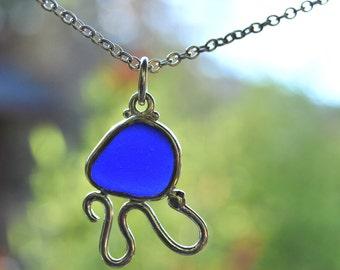 Blue Sea Glass Critter Pendant