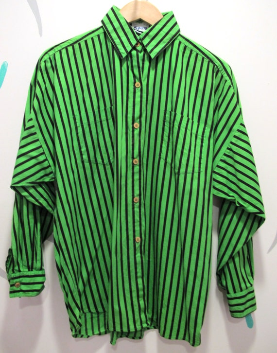 Neon Green and Black Striped Button Down Shirt