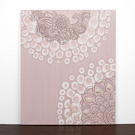Baby Girl Nursery Art - Pink and Brown Textured Flower Canvas Art - Small Modern Painting 20X24 - IN STOCK