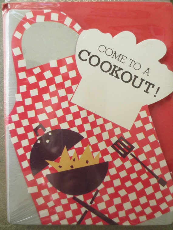 Vintage Invitations, Cookout Invitations, Party Invitations, BBQ Invites, Barbecue Invites, Party Supply, New Old Stock