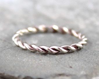 White Gold Band - Twist Band - 14K White Gold Ring - Stacking Ring - 14K White Gold Wedding Band - Friendship Ring