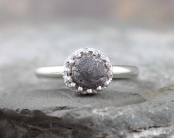 Black Diamond In The Rough Uncut Diamond Engagement Ring  - Crown Bezel - Raw Diamond Ring - Sterling Silver - April Birthstone Ring