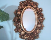 Vintage Gold Mirror with Flowers and Fruit by Syroco