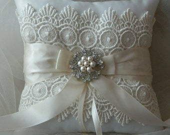 Wedding Ring Bearer Pillow Ivory Satin And Venice Lace Pillow