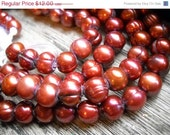 "Groundhog Sale Fabulous Cultured Freshwater Pearls - Large Hole - Bronze - 8"" Strand - 9mm"