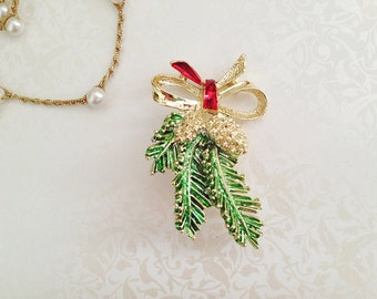 Vintage Christmas Brooch. Holiday Pin. Gerrys Creations. Pinecone. Bow. Holly. Red Green. Gold Tone Pin. Festive. Accessory. 1980s.