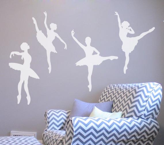 Ballerina dancer wall decals vinyl set of 4 db210 for Ballerina wall mural