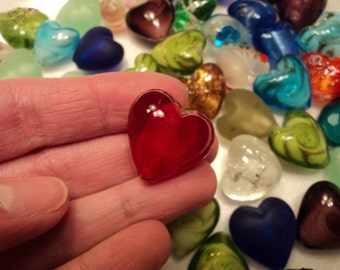 Glass Hearts - Set of 5 - Size 20mm - NEW COLORS ADDED!  See pictures