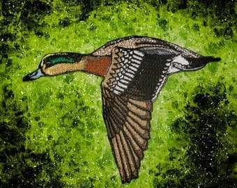 American Wigeon Duck Iron On Patch ducks flight dabbling pond duckling embroidered Huge Jacket Back