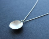 Concave necklace. Domed. Sterling Silver. Handmade. Contemporary design.