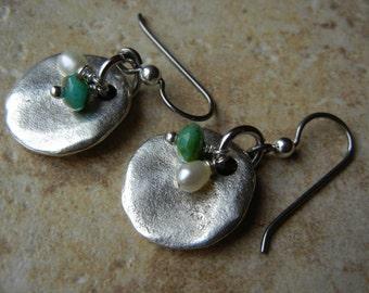 Niobium Pearl and Turquoise Czech Glass Dangle Earrings