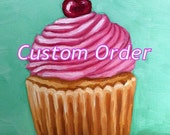 """Custom order for Jennifer - Listing 1 of 2 - 4x4"""" oil painting of burger with pink bow"""