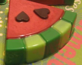 One dozen watermelon slice look chocolate covered sandwich cookies