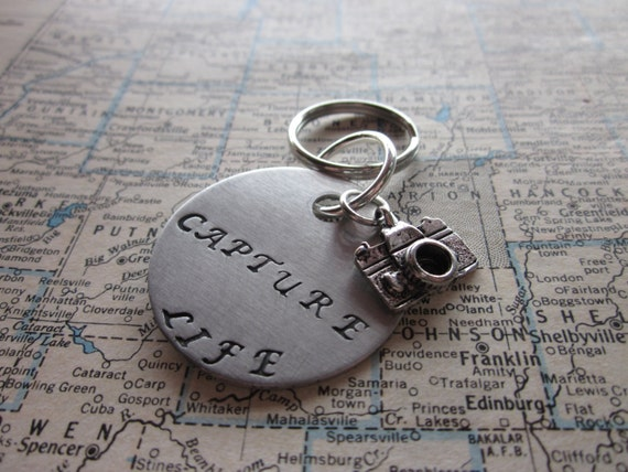 Capture Life - Metal Hand Stamped Key Chain